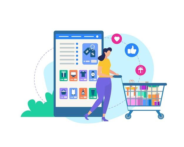 トロリーとオンラインショップのアプリケーションを持つ女性。 Premiumベクター