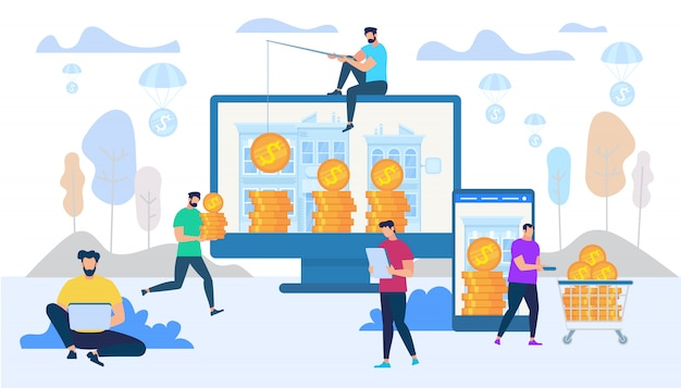 Зарабатывать и тратить деньги в интернет-концепции Premium векторы