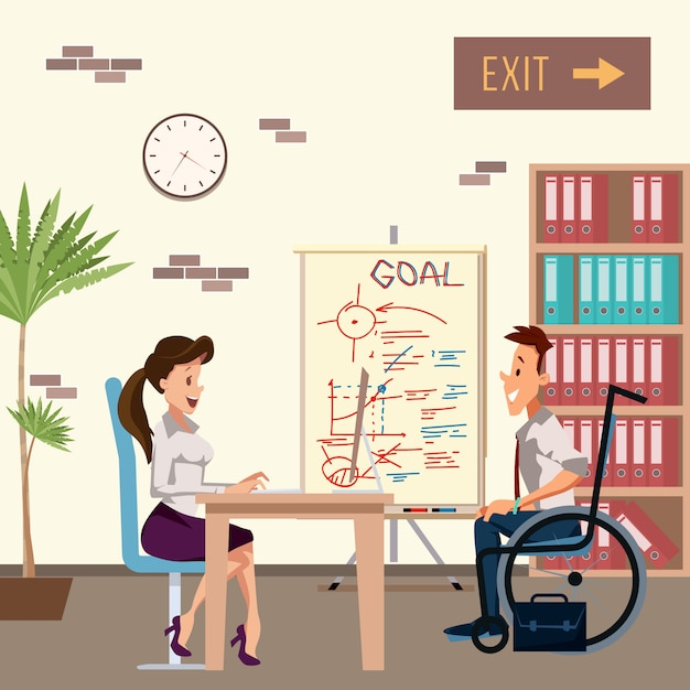 障害者の男性がオフィスの女性と面接 Premiumベクター