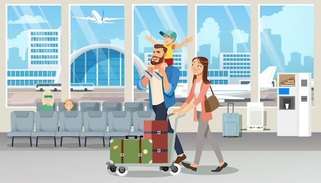 幸せな家族休暇旅行フライト漫画のベクトル Premiumベクター