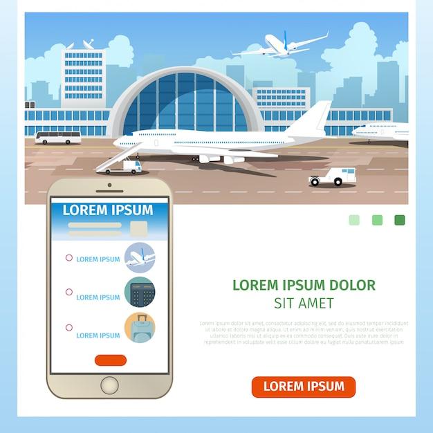 Покупка авиабилетов онлайн сервис вектор Premium векторы