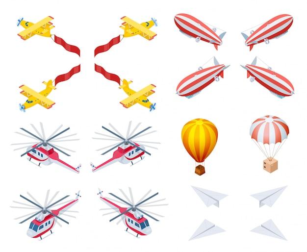 Моторные и легкие самолеты изометрические вектор Premium векторы