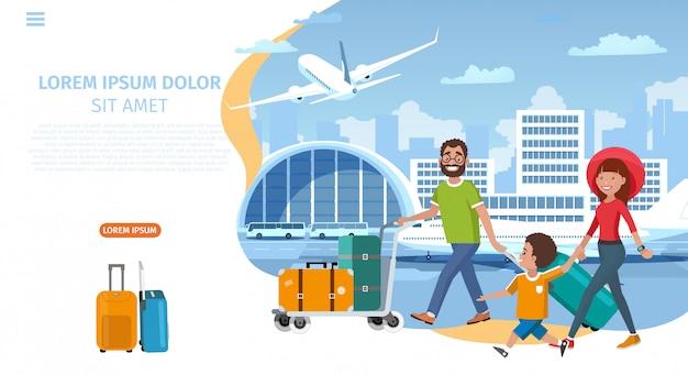航空会社漫画ベクトルのウェブサイトテンプレート Premiumベクター