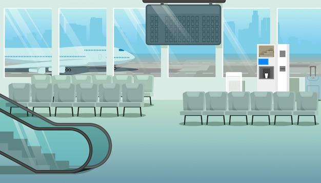 Современный зал или аэропорт, зал ожидания мультфильм вектор Premium векторы