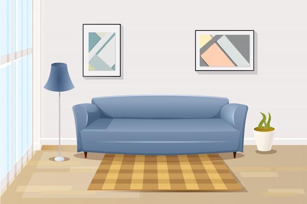 リビングルームで快適なソファ漫画のベクトル Premiumベクター