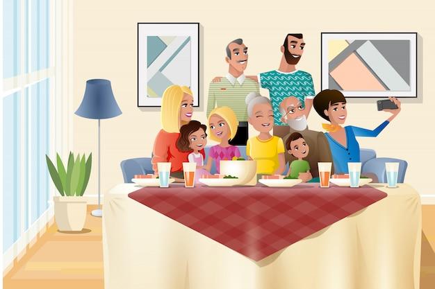 Большой семейный праздник ужин дома мультфильм вектор Premium векторы