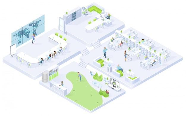 会社のオフィスの部屋等尺性ベクトルインテリア Premiumベクター