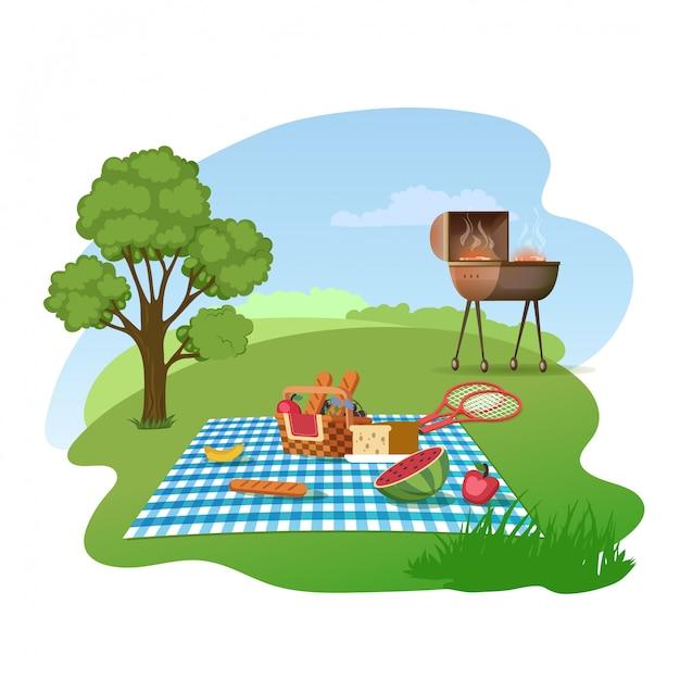 草原の漫画のベクトルの概念に家族のピクニック Premiumベクター