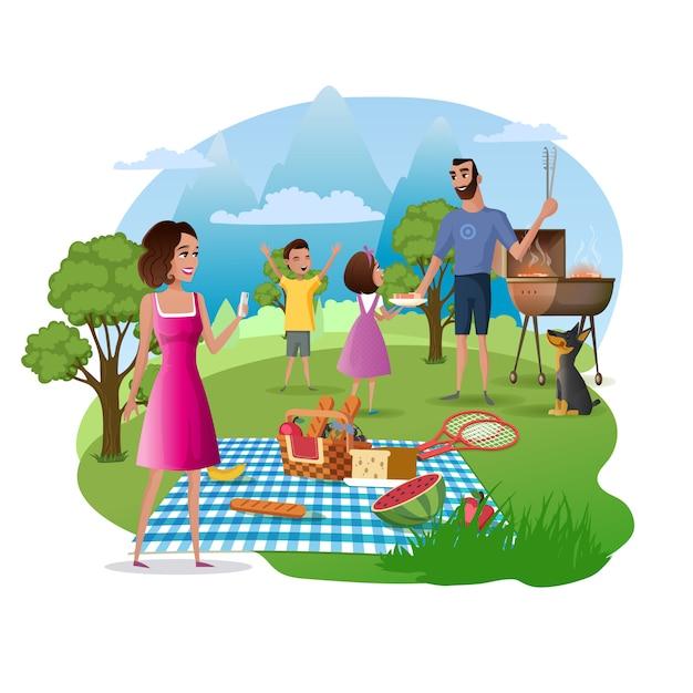 Счастливый семейный пикник и поход на природу вектор Premium векторы
