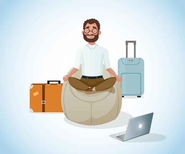 Расслабиться и работать в путешествия мультфильм вектор Premium векторы