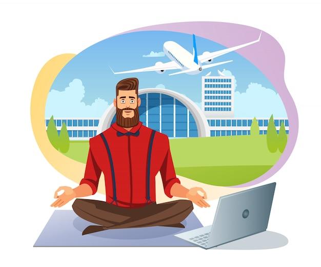 Легкая авиакомпания бронирование билетов плоский векторный концепт Premium векторы