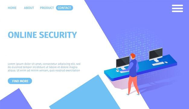 コピースペースを持つオンラインセキュリティ水平方向のバナー。 Premiumベクター