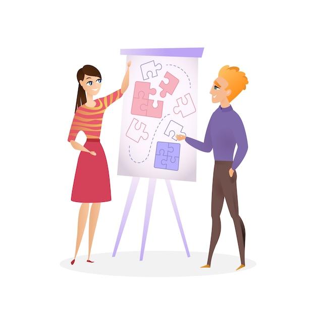 イラスト男と女が企画プロジェクト Premiumベクター