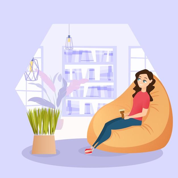 Иллюстрация девушка отдыхает в кресле с чашкой кофе Premium векторы