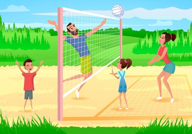 Счастливая семья занимается спортом в парке мультфильм вектор Premium векторы