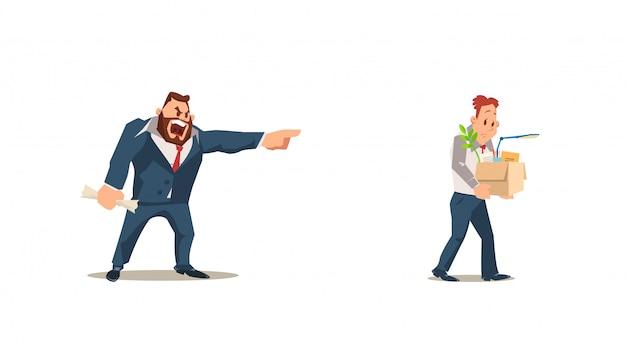 解雇され、喪失した。怒っている上司は従業員を解雇します。 Premiumベクター