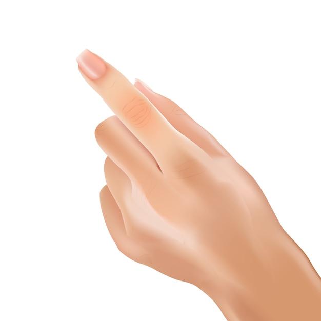 Реалистичная рука женщина указательный палец, указывая сенсорный. Premium векторы