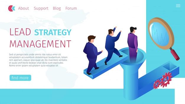 リード戦略管理水平フラットバナー。 Premiumベクター