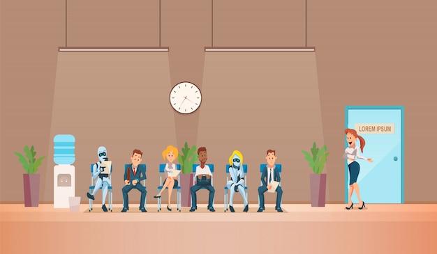 就職面接の募集とロボットベクター。 Premiumベクター