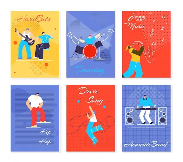 音楽人祭カードフラットベクトルイラスト Premiumベクター