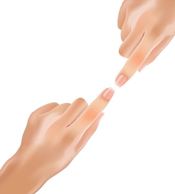 Реалистичные нежные руки касания с указательными пальцами. Premium векторы