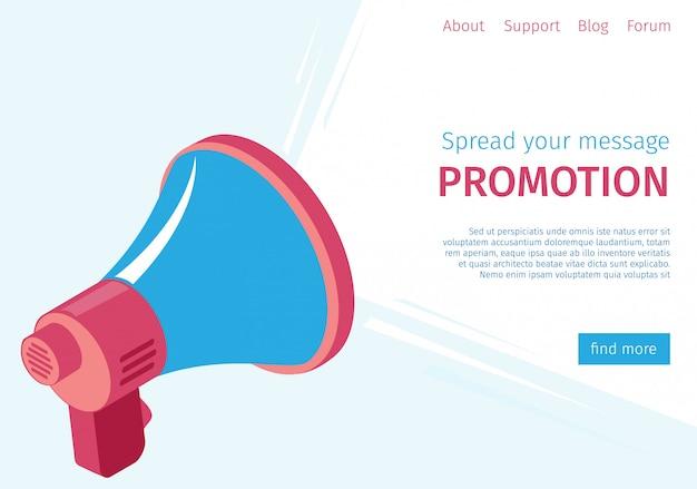 バナーメッセージ宣伝をユーザーに広める Premiumベクター