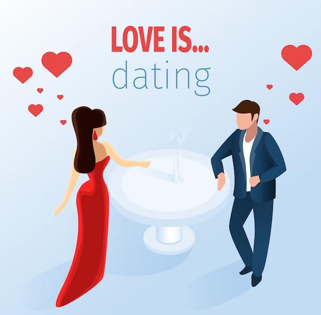 魅力的なカップルデートレストランイラストレーション Premiumベクター