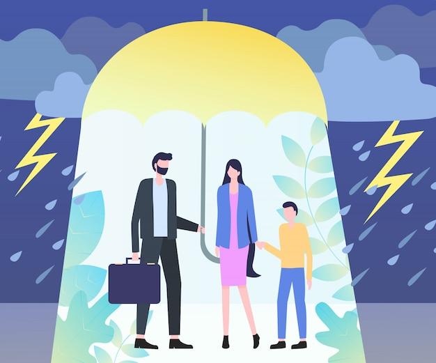 男抱き傘女少年雨雷雨危険 Premiumベクター