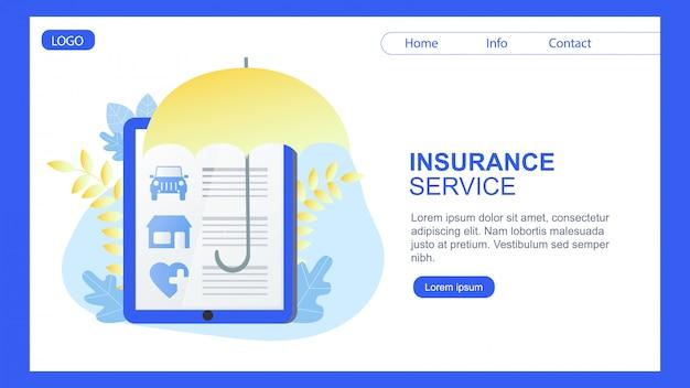 Целевая страница. дом автострахование страхование баннер зонт защита Premium векторы