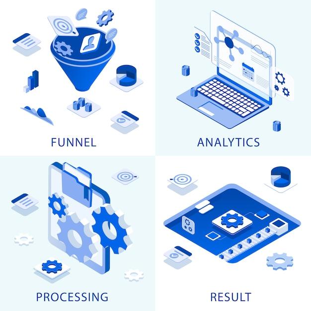 ビジネス設定マーケティングステップ成功アイコンに取り組んで Premiumベクター