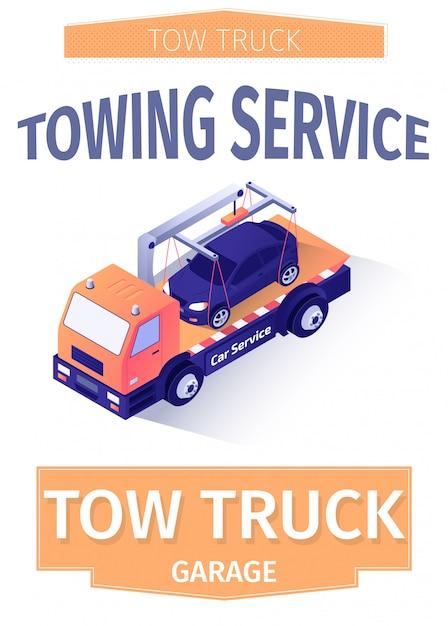 現代の牽引サービスのための広告テキストのポスター Premiumベクター
