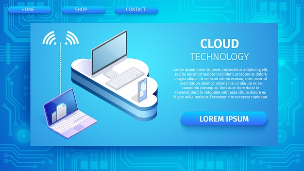 インターネットバナーを介してクラウドに接続されているデバイス。 Premiumベクター