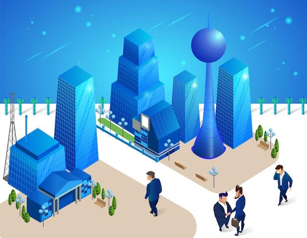 Люди-персонажи передвигаются среди футуристических зданий. Premium векторы