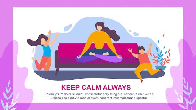 Женщина медитировать дети прыгать сохраняй спокойствие всегда Premium векторы