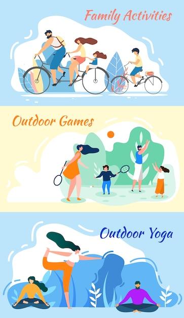 Семейные развлечения. игры на открытом воздухе. практика йоги Premium векторы