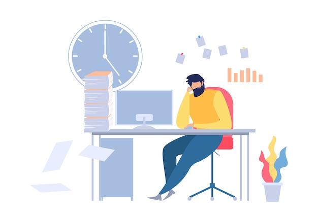 オフィスのテーブル職場に座っている不幸な漫画男 Premiumベクター