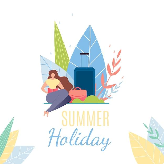 Летние каникулы текст баннер. мультфильм женщина с багажом отдыхает Бесплатные векторы