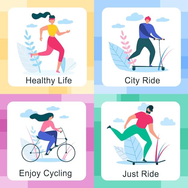 Мужчина и женщина едут на велосипеде или в разных сценах Premium векторы
