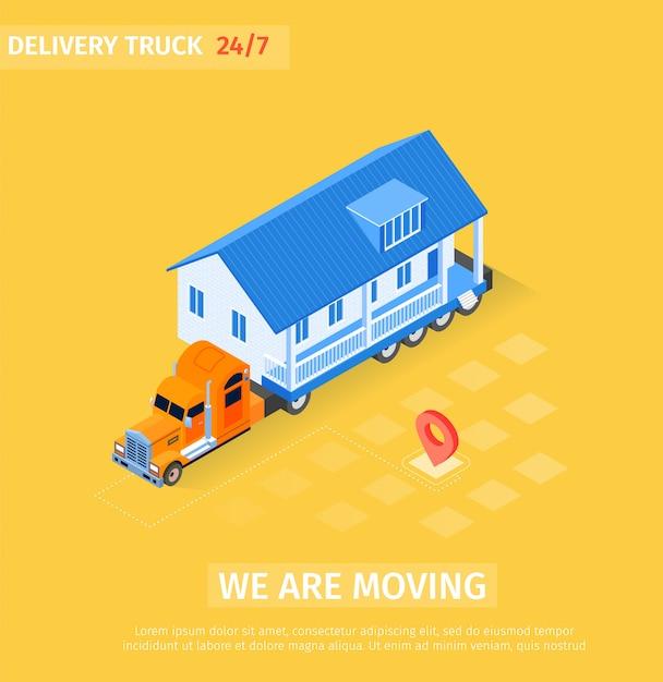 Большой грузовик транспортирует законченный дом Бесплатные векторы