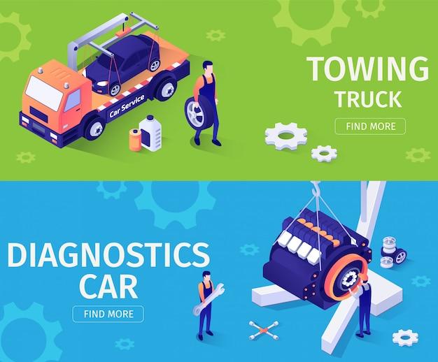 車の修理や援助サービスのためのバナーの設定。 Premiumベクター
