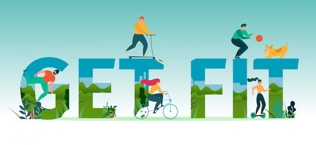 Готовься мотивационные надписи плоский баннер с мультфильм маленькие активные люди езда Premium векторы