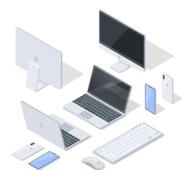 仕事と楽しみのための最も一般的なデバイスのベクトルを設定 Premiumベクター