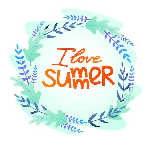 Плоская открытка с надписью «я люблю лето» Бесплатные векторы