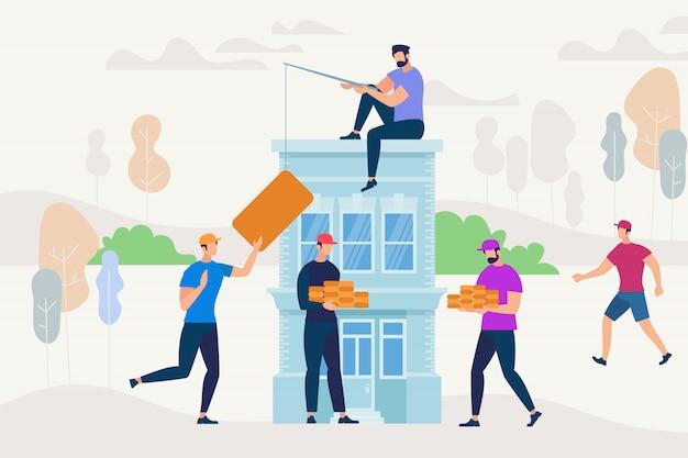 新しい家を建てるために協力して働く人々。 Premiumベクター