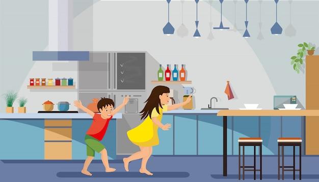 朝食を急いでいる子供たちフラットベクトル Premiumベクター