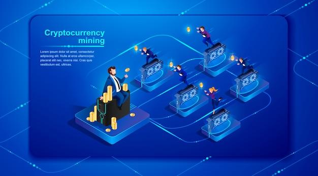 暗号通貨マイニングベクトルイラスト Premiumベクター