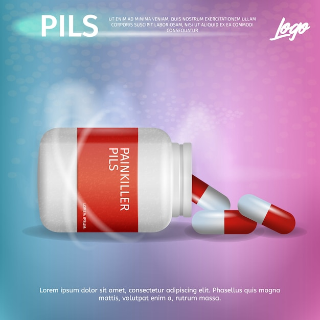 バナー広告包装鎮痛剤ピルス Premiumベクター