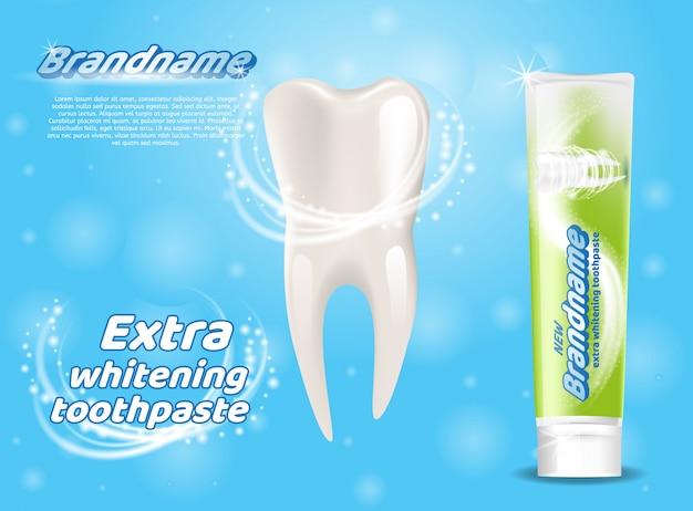 エクストラホワイトニング歯磨き粉健康な歯のコンセプト Premiumベクター