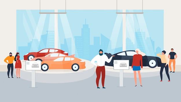 オートショーの訪問、車内でのプレゼンテーション Premiumベクター