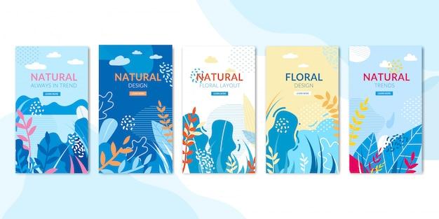 自然と花のデザインのソーシャルページセット Premiumベクター